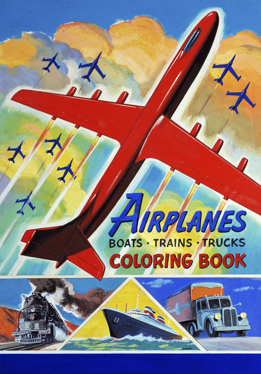 Airplanes,-Boats,-Trains,-Trucks-Coloring-Book