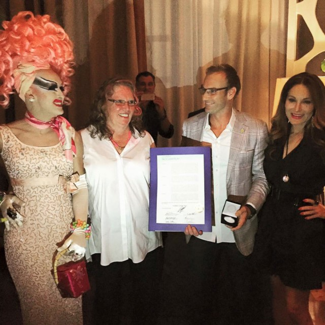 Drag-Queen-Adora,-Cosmo-Creator-Cheryl-Cook,-City-Commissioner-Michael-Grieco,-Hostess-Tara-Solomon