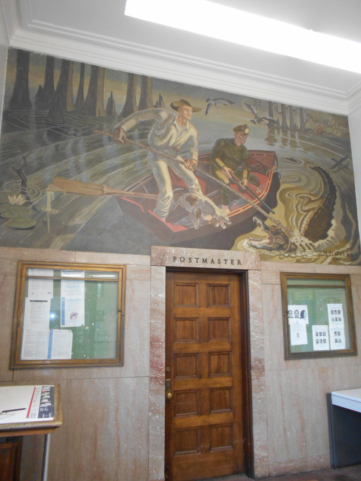 -Settler-Fighting-Alligator-from-Rowboat--mural-at-the-Post-Office