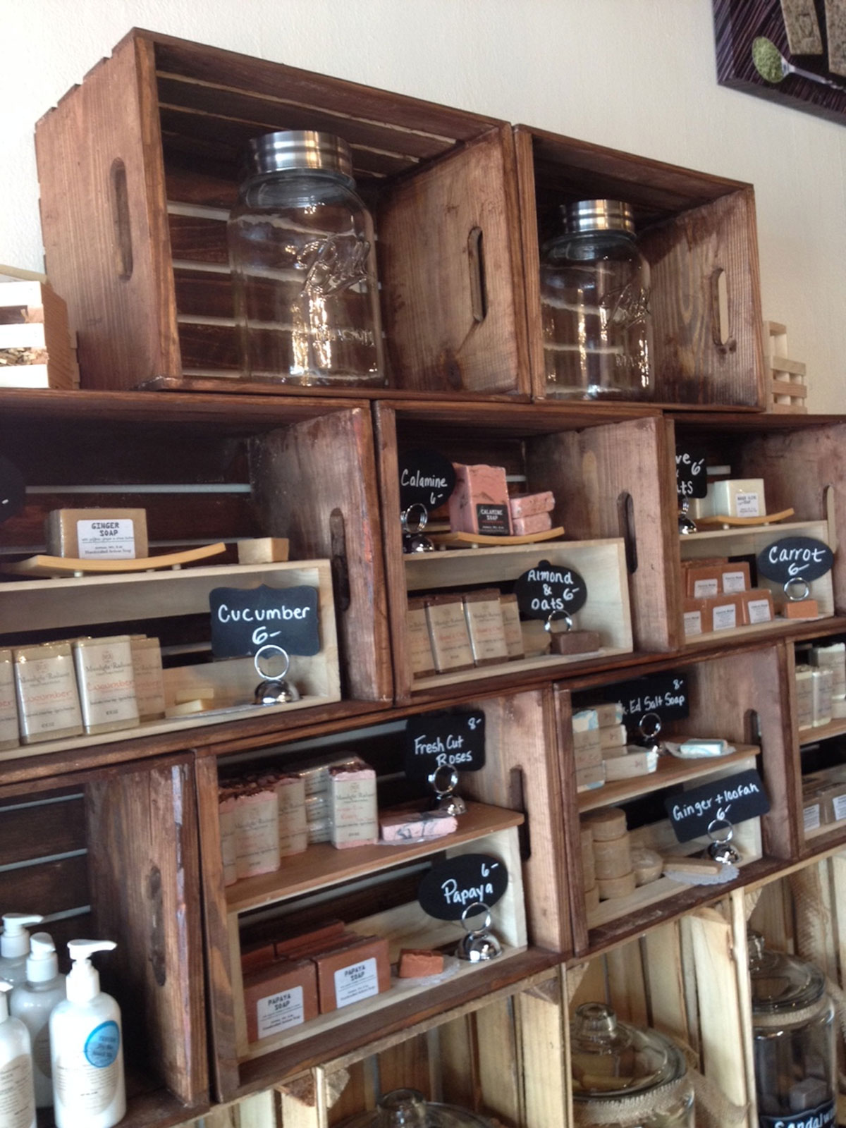 Shelves of soaps at Moonlight Radiance