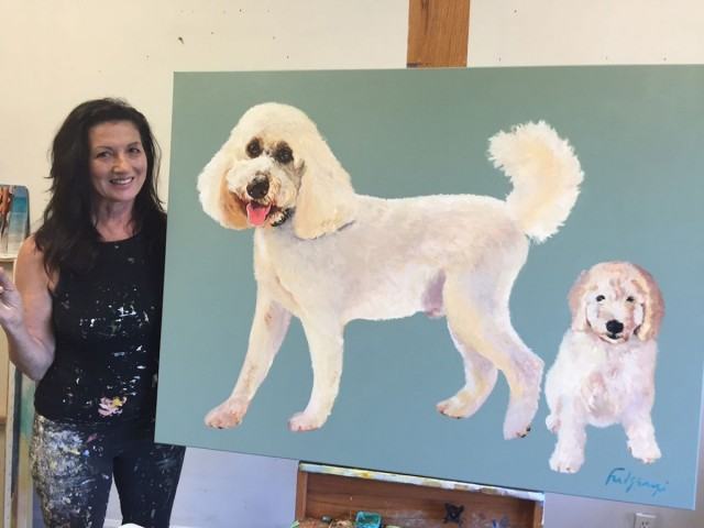 Maureen Fulgenzi and one of her dog portraits