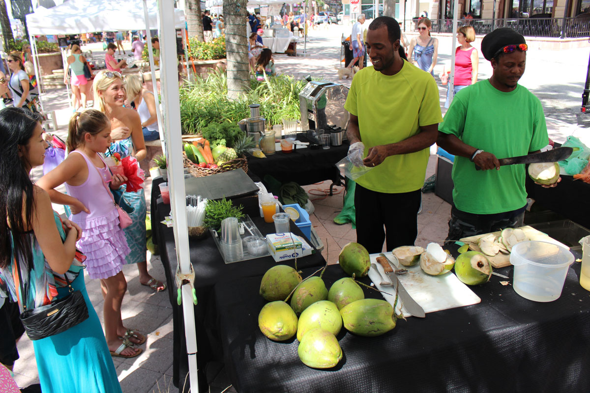 People enjoying the West Palm Beach GreenMarket