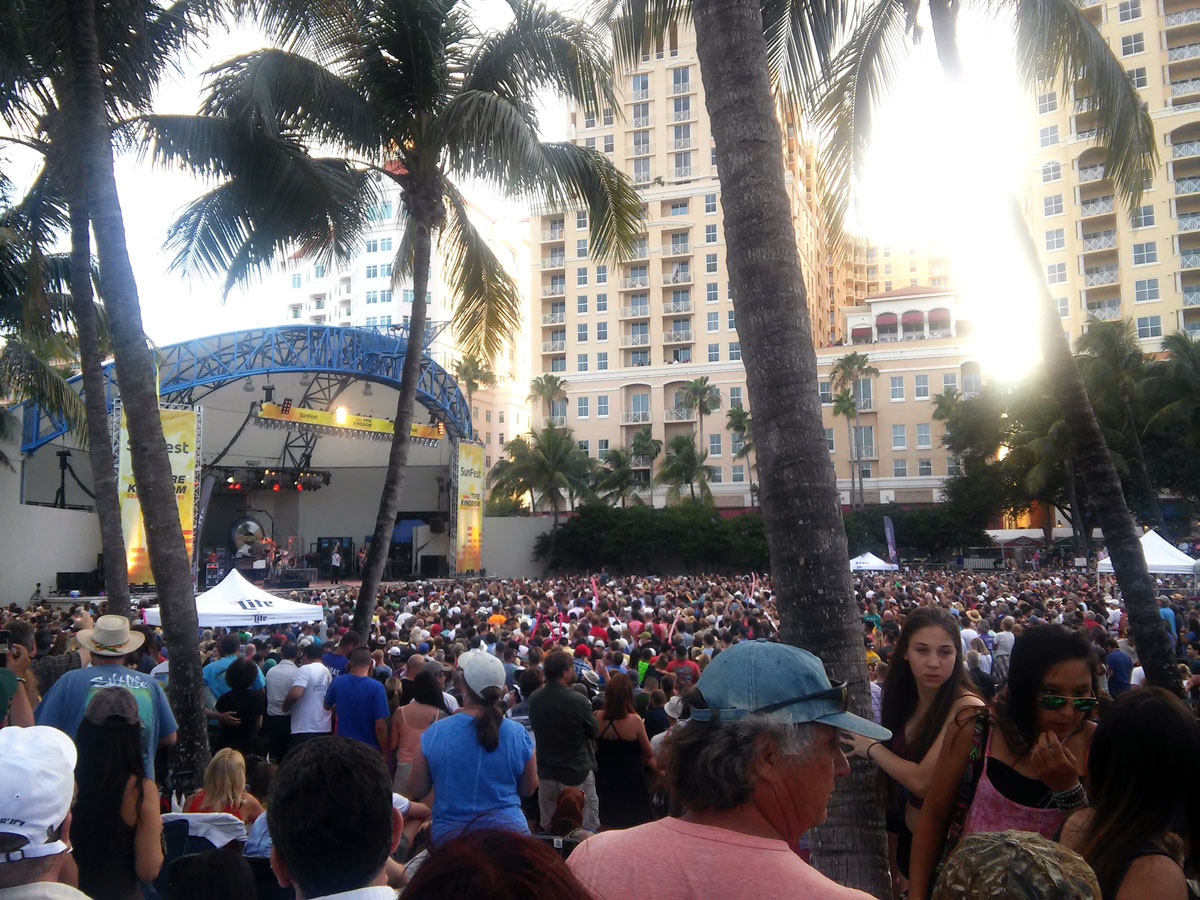 Crowd gathered at the Tire Kingdom Stage for Boston Performance at SunFest 2015