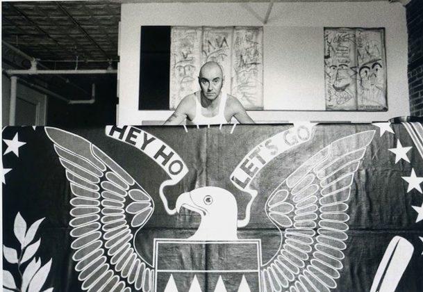 Arturo Vega banner at NY Punk-photo by Keith Green