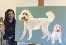 Maureen Fulgenzi and one of her dog portraits