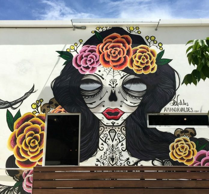 Amanda Valdes mural at WIne Scene in West Palm Beach