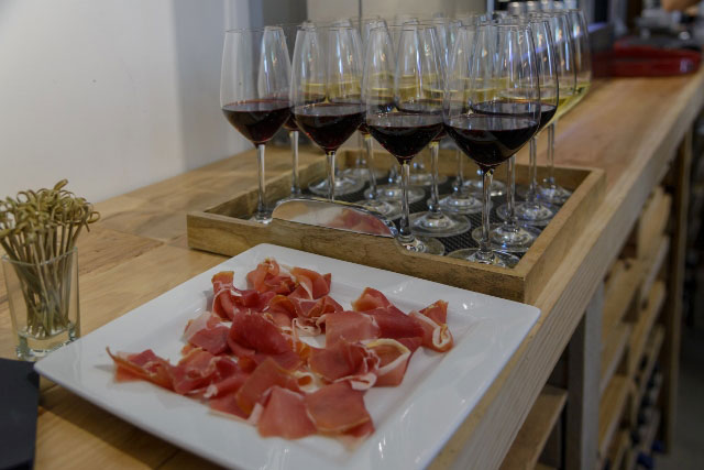 Proscutto and wine a Wine Scene