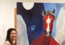 Maureen Fulgenzi and horse painting at the International Polo Club