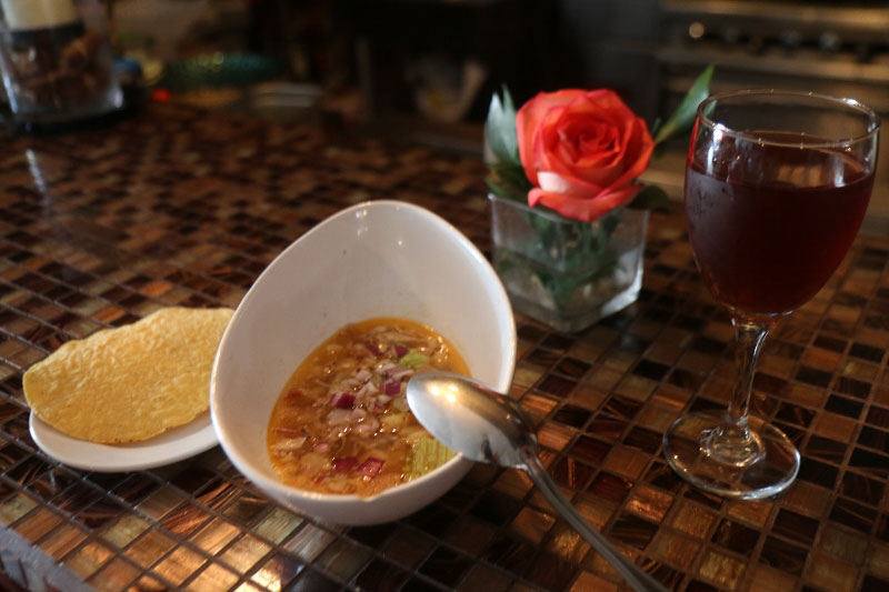 Soup and Hibiscus tea at Table 427
