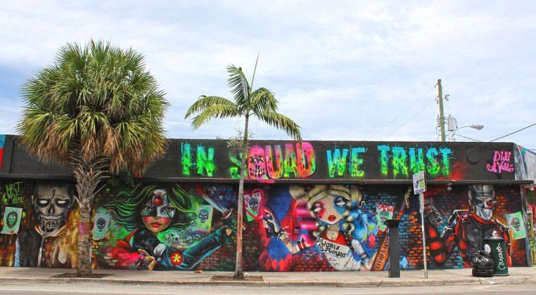Amanda Valdes painting Suicide Squad mural