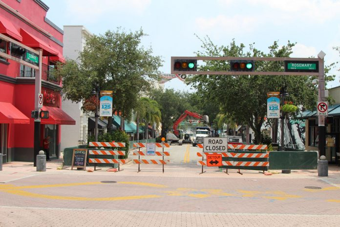 The Clematis Streetscape project on the 500 block is underway